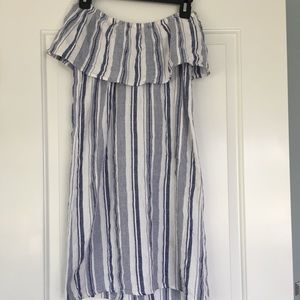 Off the Shoulder Blue and White Summer Dress